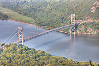 The Bear Mountain Bridge, spanning the Hudson River between Rockland and Westchester counties in New York, was the longest suspension bridge in the world when completed in 1924.   This view is from Bear Mountain State Park, Stony Point, Rockland County, New York