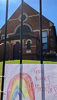 High Wycombe, England. 19 May 2020<br /> .<br /> Positive messages are displayed outside a church during the current UK Covid-19 lockdown with new guidelines issued recently by the government at The Rye, Park, Bucks, England on 19 May 2020. Photo by Andy Rowland.