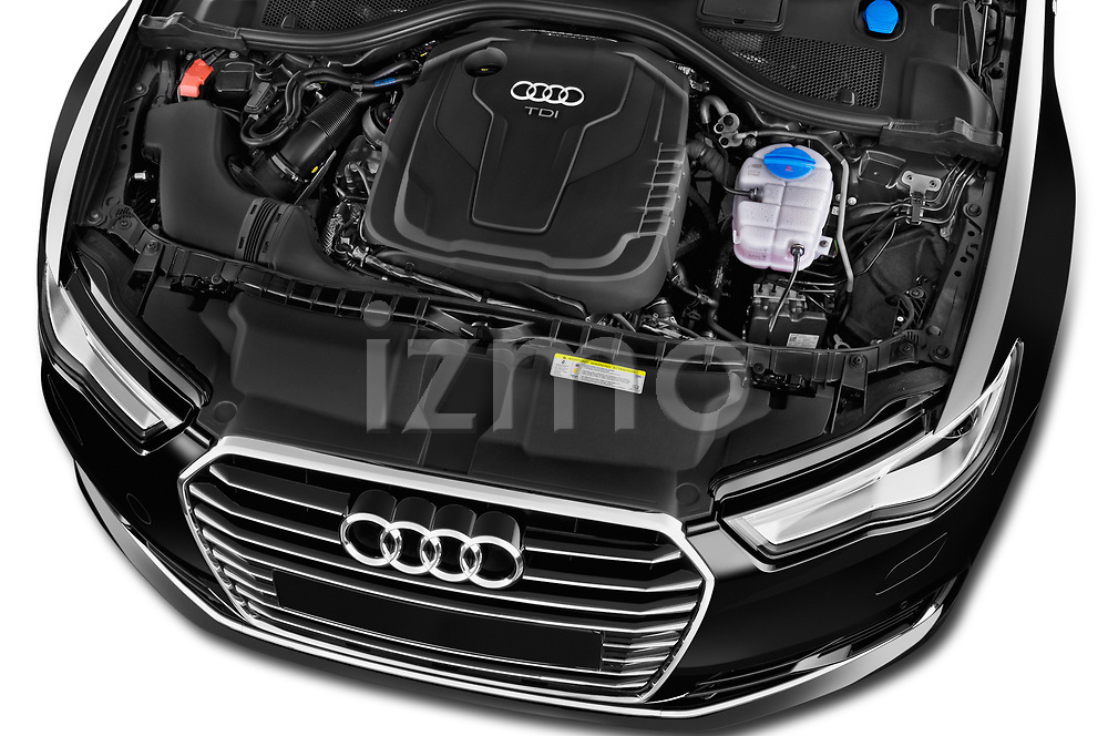 Car stock 2015 Audi A6 S Line 5 Door Wagon engine high angle detail view