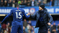 Chelsea Manager, Frank Lampard celebrates their victory with Kurt Zouma at the final whistle during Chelsea vs Everton, Premier League Football at Stamford Bridge on 8th March 2020