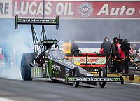 Feb 9, 2020; Pomona, CA, USA; NHRA top fuel driver Brittany Force during the Winternationals at Auto Club Raceway at Pomona. Mandatory Credit: Mark J. Rebilas-USA TODAY Sports