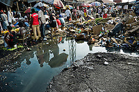 Tons of garbage decay in the La Saline market, Port-au-Prince, Haiti, 14 July 2008. Every day thousands of women from all over the city of Port-au-Prince try to resell supplies and food from questionable sources in the La Saline market. The informal sector significantly predominate within the poor Haitian economics and the regular shops virtually do not exist. La Saline is the largest street market area in Port-au-Prince.