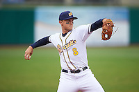 Montgomery Biscuits third baseman Richie Shaffer (8) warmup throw to first during a game against the Jackson Generals on April 29, 2015 at Riverwalk Stadium in Montgomery, Alabama.  Jackson defeated Montgomery 4-3.  (Mike Janes/Four Seam Images)