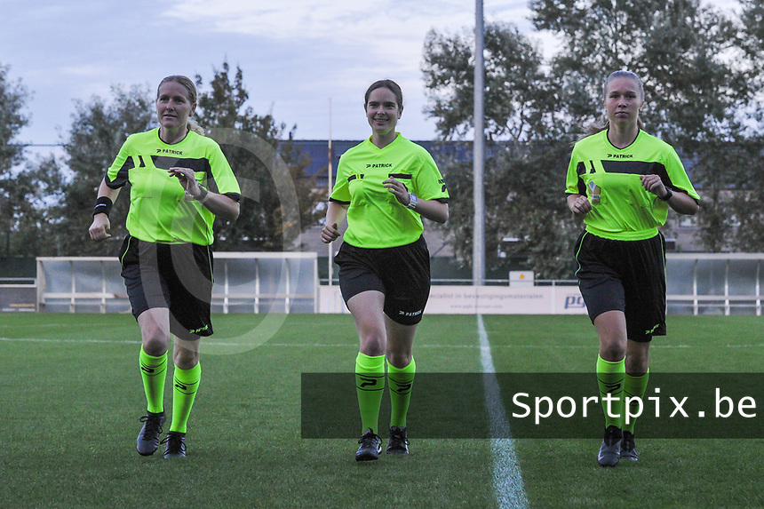assistant referee Heidi Houtthave , referee Van Meirvenne Imgard and assistant referee Shauni Depruyst pictured during a female soccer game between  AA Gent Ladies and Eendracht Aalst on the second matchday of the 2020 - 2021 season of Belgian Scooore Womens SuperLeague , friday 4 th of september 2020  in Oostakker , Belgium . PHOTO SPORTPIX.BE | SPP | STIJN AUDOOREN
