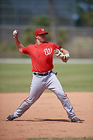 Washington Nationals Sheldon Neuse (17) throws to first base during practice before a minor league Spring Training game against the St. Louis Cardinals on March 27, 2017 at the Roger Dean Stadium Complex in Jupiter, Florida.  (Mike Janes/Four Seam Images)