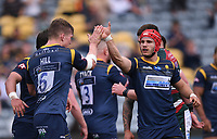 29th May 2021; Sixways Stadium, Worcester, Worcestershire, England; Premiership Rugby, Worcester Warriors versus Leicester Tigers; Ted Hill of Worcester Warriors celebrates scoring a try with Harri Doel of Worcester Warriors