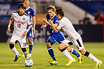 Jaimes McKee (2nd right) of Eastern SC (HKG) battles for the ball with Yusuke Tasaka (r) of Kawasaki Frontale (JPN) during the AFC Champions League 2017 Group G match between Eastern SC (HKG) and Kawasaki Frontale (JPN) at the Mongkok Stadium on 01 March 2017 in Hong Kong, China. Photo by Chris Wong / Power Sport Images