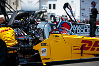 Aug 8, 2020; Clermont, Indiana, USA; NHRA top fuel driver Shawn Langdon during qualifying for the Indy Nationals at Lucas Oil Raceway. Mandatory Credit: Mark J. Rebilas-USA TODAY Sports