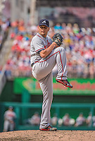14 April 2013: Atlanta Braves pitcher Luis Avilan on the mound against the Washington Nationals at Nationals Park in Washington, DC. The Braves shut out the Nationals 9-0 to sweep their 3-game series. Mandatory Credit: Ed Wolfstein Photo *** RAW (NEF) Image File Available ***