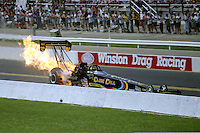 Sept 1, 1997; Claremont, IN, USA; NHRA top fuel dragster driver Jim head explodes an engine during the US Nationals at Indianapolis Raceway Park. Mandatory Credit: Mark J. Rebilas-