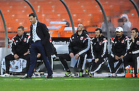 Washington, D.C.- March 29, 2014. D.C. United Head Coach Ben Olsen at the end of the game.  The Chicago Fire tied D.C. United 2-2 during a Major League Soccer Match for the 2014 season at RFK Stadium.