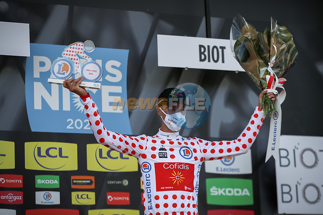 Anthony Perez (FRA) retains the Polka Dot Jersey at the end of Stage 6 of Paris-Nice 2021, running 202.5km from Brignoles to Biot, France. 12th March 2021.<br /> Picture: ASO/Fabien Boukla | Cyclefile<br /> <br /> All photos usage must carry mandatory copyright credit (© Cyclefile | ASO/Fabien Boukla)