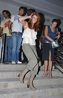 MIAMI BEACH, FL - JUNE 16, 2006: Actor, Model Angie Everhart (AKA Angela Kay Everhart) leaving Nobu Restaurant. On June 16, 2006, in Miami Beach, Florida. <br /> <br /> People;  Angie Everhart