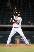 Mesa Solar Sox Isaac Paredes (18), of the Detroit Tigers organization, at bat during an Arizona Fall League game against the Peoria Javelinas on September 21, 2019 at Sloan Park in Mesa, Arizona. Mesa defeated Peoria 4-1. (Zachary Lucy/Four Seam Images)