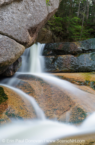 Cascade Brook during the summer months. This brook is located along Basin-Cascades Trail in Lincoln, New Hampshire USA.