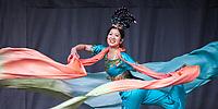 Beautiful Chinese Woman Performing Silk Ribbon Dance at the Lunar New Year Celebration, Chinatown, Seattle, WA, USA.