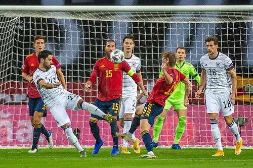 17th November 2020;  Estadio La Cartuja de Sevilla, Seville, Spain; UEFA Nations League Football, Spain versus Germany; Ilkay Guendogan (ger) Leon Goretzka (ger) Sergio Ram(esp) challenge for the ball on the top of the box