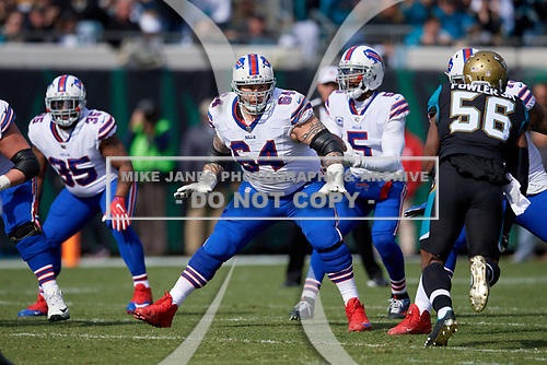 Buffalo Bills guard Richie Incognito (64) blocks during an NFL Wild-Card football game against the Jacksonville Jaguars, Sunday, January 7, 2018, in Jacksonville, Fla.  (Mike Janes Photography)