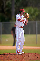 Indiana Hoosiers starting pitcher Evan Bell (8) looks in for the sign during a game against the Seton Hall Pirates on March 5, 2016 at North Charlotte Regional Park in Port Charlotte, Florida.  Seton Hall defeated Indiana 6-4.  (Mike Janes/Four Seam Images)