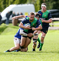 Saturday 10th October 2020 | Ballynahinch vs Queens<br /> <br /> Ross Adair is tackled by Ritchie McMaster and Robbie Johnston during the Energia Community Series clash between Ballynahinch and Queens at Ballymacarn Park, Ballynahinch, County Down, Northern Ireland. Photo by John Dickson / Dicksondigital