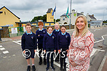 Geraldine Shanahan Principal of Gneeveguilla NS who is delighted with the €45,000 grant for new footpaths outside the school with pupils l-r: Darragh Finnegan, Ethan Real, Triona Hurley, Ava Looney  and Muireann Fenton