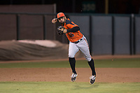 AZL Giants Orange third baseman Hector Santiago (45) makes a running throw to first base during an Arizona League game against the AZL Athletics at Lew Wolff Training Complex on June 25, 2018 in Mesa, Arizona. AZL Giants Orange defeated the AZL Athletics 7-5. (Zachary Lucy/Four Seam Images)
