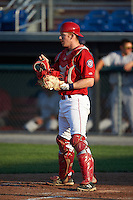 Auburn Doubledays catcher Erik VanMeetren (8) during a game against the Mahoning Valley Scrappers on June 19, 2016 at Falcon Park in Auburn, New York.  Mahoning Valley defeated Auburn 14-3.  (Mike Janes/Four Seam Images)