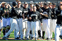 The Wake Forest Demon Deacons celebrate their walk-off win against the Youngstown State Penguins at Wake Forest Baseball Park on February 24, 2013 in Winston-Salem, North Carolina.  (Brian Westerholt/Four Seam Images)