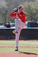 Ohio State Buckeyes pitcher Greg Greve #32 on the mound during a game against the Coastal Carolina Chanticleers at Watson Stadium at Vrooman Field on March 11, 2012 in Conway, SC.  Coastal Carolina defeated Ohio State 3-2. (Robert Gurganus/Four Seam Images)