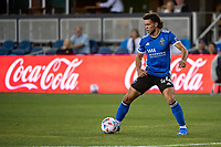 SAN JOSE, CA - JULY 24: Cade Cowell #44 of the San Jose Earthquakes dribbles the ball during a game between San Jose Earthquakes and Houston Dynamo at PayPal Park on July 24, 2021 in San Jose, California.