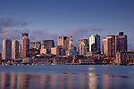 Sunrise on the Boston waterfront and Boston Harbor, Boston, MA, USA