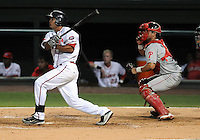 Fiirst baseman Reynaldo Rodriguez (23) of the Greenville Drive knocks in the first run of the game against the Lakewood BlueClaws in Game 1 of the South Atlantic League Championship Series on Sept. 13, 2010, at Fluor Field at the West End in Greenville, S.C. Photo by: Tom Priddy/Four Seam Images