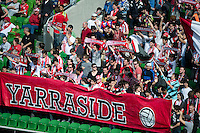 MELBOURNE, AUSTRALIA - SEPTEMBER 19, 2010: Heart fans cheer their team in Round 7 of the 2010 A-League between the Melbourne Heart and Wellington Phoenix at AAMI Park on September 19, 2010 in Melbourne, Australia. (Photo by Sydney Low / Asterisk Images)