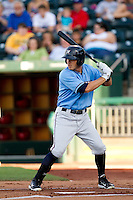 Eric Duncan (15) of the Northwest Arkansas Naturals at bat during a game against the Springfield Cardinals at Hammons Field on June 14, 2012 in Springfield, Missouri. (David Welker/Four Seam Images)