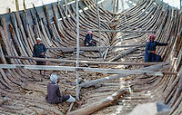 Kuwait April 1967.  Interior of a Large Dhow (Boom) under Construction, showing interior bracing of the hull. AN ADDITIONAL 100 HISTORIC IMAGES OF KUWAIT MADE BETWEEN 1966-1972 ARE AVAILABLE.  LET US KNOW WHAT YOU NEED.