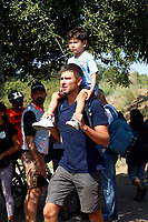 Former deputy of Movement 5 Stars Alessandro Di Battista with his son Andrea during a picnic at Caffarella park, in occasion of the election campaign for the new mayor of the city.<br /> Rome (Italy), September 12th 2021<br /> <br /> Photo Samantha Zucchi Insidefoto