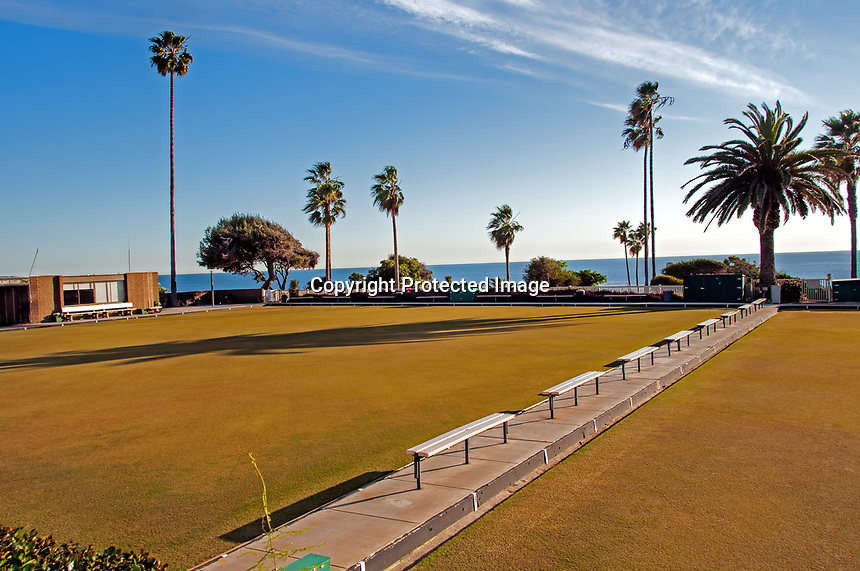 A gorgeous January day view of some Lawn Bowling greens, Laguna Beach, California.