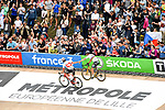 World Champion Peter Sagan (SVK) Bora-Hansgrohe wins ahead of Swiss Champion Silvan Dillier (SUI) AG2R La Mondiale in the Roubaix Velodrome at the end of the 116th edition of Paris-Roubaix 2018. 8th April 2018.<br /> Picture: ASO/Bruno Bade | Cyclefile<br /> <br /> <br /> All photos usage must carry mandatory copyright credit (© Cyclefile | ASO/Bruno Bade)
