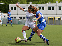 Luna Vanzeir (10) of OHL and Emma Van Britsom (6) of AA Gent battle for the ball during a female soccer game between Oud Heverlee Leuven and AA Gent Ladies on the 9 th matchday of play off 1 in the 2020 - 2021 season of Belgian Womens Super League , saturday 22 nd of May 2021  in Heverlee , Belgium . PHOTO SPORTPIX.BE | SPP | SEVIL OKTEM