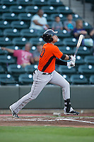 Jomar Reyes (30) of the Frederick Keys follows through on his swing against the Winston-Salem Dash at BB&T Ballpark on May 24, 2016 in Winston-Salem, North Carolina.  The Keys defeated the Dash 7-1.  (Brian Westerholt/Four Seam Images)