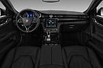 Stock photo of straight dashboard view of a 2018 Maserati Quattroporte S 2WD 4 Door Sedan