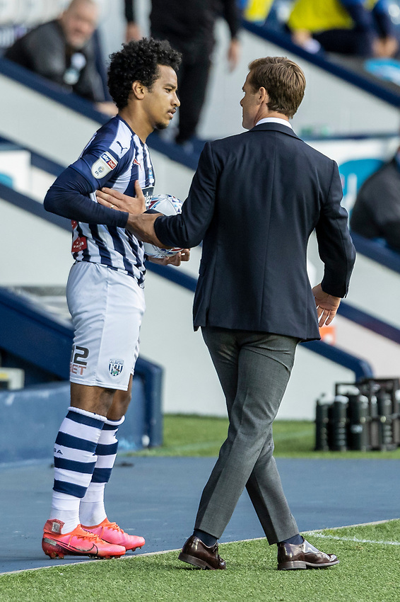 West Bromwich Albion's Matheus Pereira (left) in close contact with Fulham's manager Scott Parker <br /> <br /> Photographer Andrew Kearns/CameraSport<br /> <br /> The EFL Sky Bet Championship - West Bromwich Albion v Fulham - Tuesday July 14th 2020 - The Hawthorns - West Bromwich <br /> <br /> World Copyright © 2020 CameraSport. All rights reserved. 43 Linden Ave. Countesthorpe. Leicester. England. LE8 5PG - Tel: +44 (0) 116 277 4147 - admin@camerasport.com - www.camerasport.com