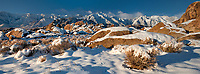 902000042 panoramic view - animal tracks in in fresh winter snow covering granite boulders below mount langley lone pine peak mount russell and the easter sierras from the alabama hills bureau of land management protected lands in inyo county california