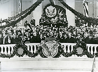 This inauguration ceremony for Franklin D. Roosevelt on March 4, 1933, was the last ceremony to be held in March. All subsequent inaugurals have been held in January.<br /> <br /> Photo by Architect of the Capitol photographers.