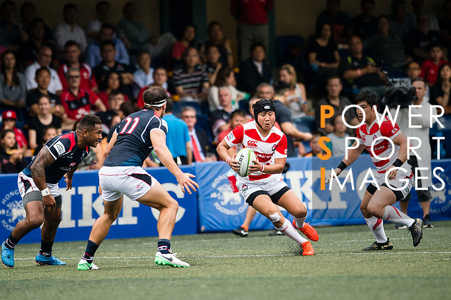Kanta Shikao of Japan (C) during the Asia Rugby Championship 2017 match between Hong Kong and Japan on May 13, 2017 in Hong Kong, China. Photo by Marcio Rodrigo Machado / Power Sport Images