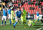 FK Trakai v St Johnstone…06.07.17… Europa League 1st Qualifying Round 2nd Leg, Vilnius, Lithuania.<br />Joe Shaughnessy tries to win the ball back after his header hit the upright.<br />Picture by Graeme Hart.<br />Copyright Perthshire Picture Agency<br />Tel: 01738 623350  Mobile: 07990 594431