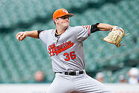 Sam Houston State Bearkats starting pitcher Tyler Eppler #36 in action against the Texas Christian Horned Frogs at Minute Maid Park on February 28, 2014 in Houston, Texas.  The Bearkats defeated the Horned Frogs 9-4.  (Brian Westerholt/Four Seam Images)