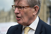 Bill Cash MP.  Stop HS2 demonstration outside Parliament on the day of the second reading of the HS2 Hybrid Bill.