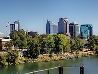 A view of downtown Sacramento from the river, California, US.