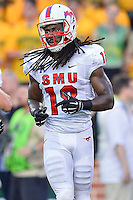SMU wide receiver Darius Joseph (18) walks on the field for a play during first half of NCAA inaugural Football game at newly constructed McLean Stadium, Sunday, August 31, 2014 in Waco, Tex. Baylor leads SMU 31-0 in the first half. (Mo Khursheed/TFV Media via AP Images)